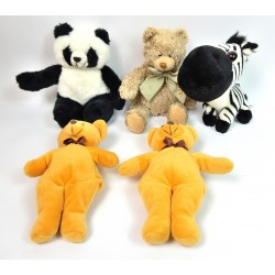 LOT DE 5 PELUCHES ASSORTIES