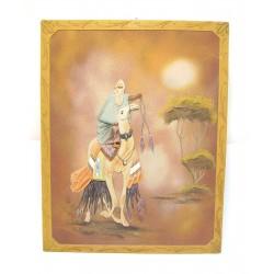 TABLEAU ORIENTAL BEDOUIN SUR DROMADAIRE AVEC EFFETS RELIEF 47,5 x 60 cm