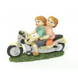 SUJET FIGURINE ENFANTS SUR MOTO EN RESINE