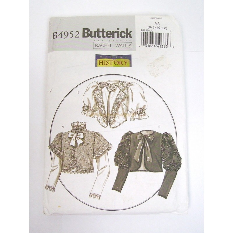 PATRON COUTURE VESTE BUTTERICK HISTORY B4952 TAILLE AA 6-8-10-12
