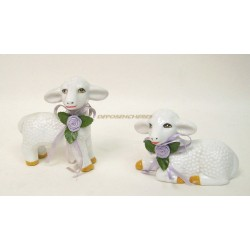 LOT 2 SUJETS FIGURINES MOUTON EN CERAMIQUE
