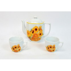 CAFETIERE ET 2 TASSES EN CERAMIQUE DECOR TOURNESOLS