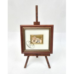 CADRE CHROMOLITHOGRAPHIE PAYSAGE ENNEIGE 10,5 x 9,5 CM