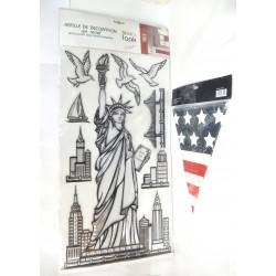 PLANCHE 8 STICKERS RELIEF + GUIRLANDE FANIONS USA